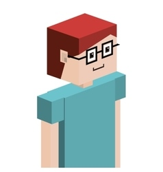 Lego child half body with t-shirt and glasses vector