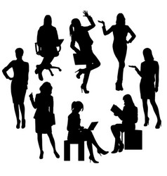 Business woman and secretary silhouettes vector