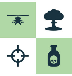 Battle icons set collection of atom chopper vector