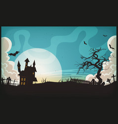 Halloween landscape background vector