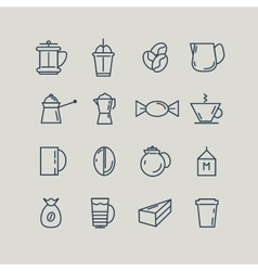 Set of line icons coffee turk french press cup vector