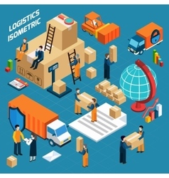 Isometric warehouse logistics concept vector