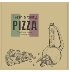 Ink hand drawn pizza package box template vector