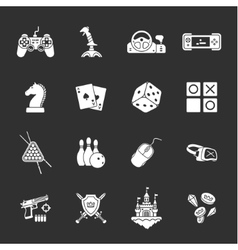 Sixteen flat game icons vector