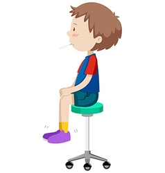 Boy on stool having fever vector