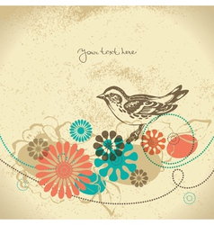 Abstract floral background with bird vector