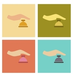 Assembly flat icons poker hand bell vector
