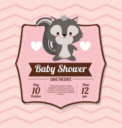 Baby shower card invitation save the date - skunk vector