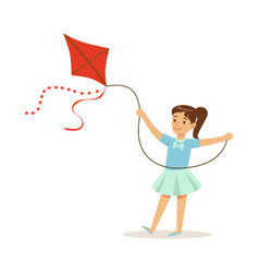 Beautiful girl playing with kite kids outdoor vector