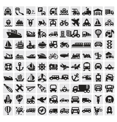 Big transportation icons vector