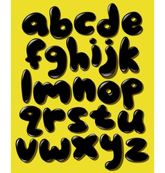 black lower case bubble alphabet vector image vector image