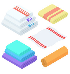 cartoon isometric towels set cloth folded vector image