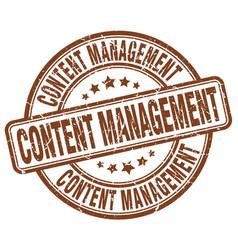 Content management brown grunge stamp vector