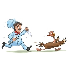 Cook with knife pursues frightened turkey Fun vector image
