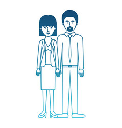 Couple in degraded blue silhouette and her with vector