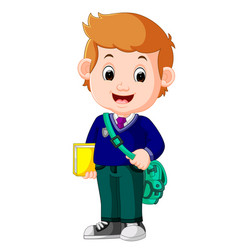 cute boy with backpack cartoon vector image vector image