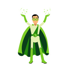 ecological green superhero man standing with his vector image