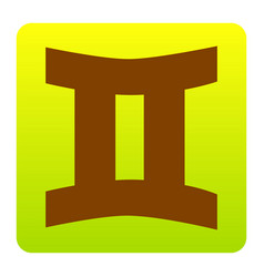 Gemini sign brown icon at green-yellow vector