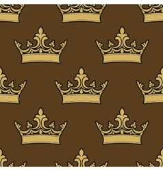 Golden crowns seamless pattern vector image