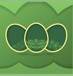 Greeting card with green easter eggs vector
