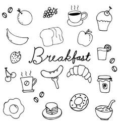 Hand drawing breakfast doodle design vector