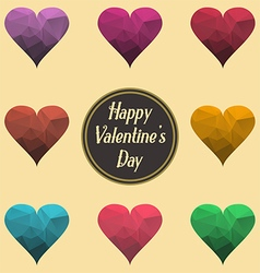 Happy valentine day sign abstract polygonal hearts vector