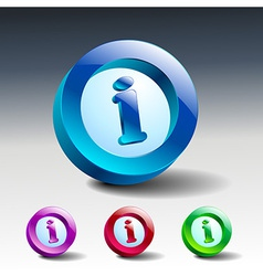 Info icon glossy blue button symbol vector