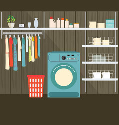 Laundry room with washing machine vector