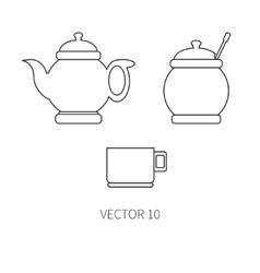 Line flat kitchenware icons - teapot sugar vector