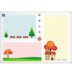 Line paper design with house and tree vector