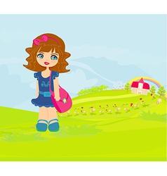 Little girl going to school vector