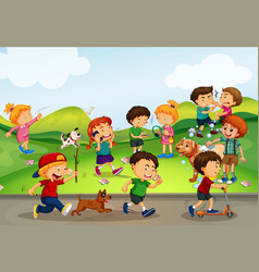 many kids playing in the field vector image vector image