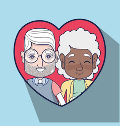 Old people inside of heart design vector