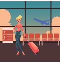 Pretty blond woman in jeans and heels travelling vector