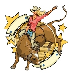 Rodeo cowgirl riding a bull label design with vector
