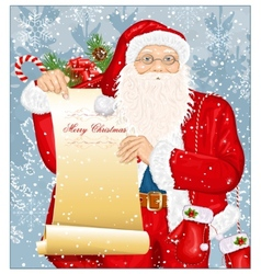 Santa Claus with Santas list vector image