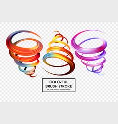 Set of colorful brush strokes modern design vector