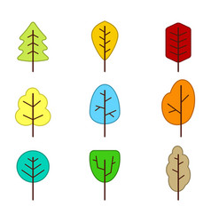 Set of monochrome icons with trees vector
