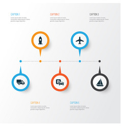 Shipment icons set collection of yacht spaceship vector