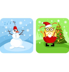 Snowman and elf vector