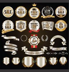 super sale golden retro badges and labels vector image vector image