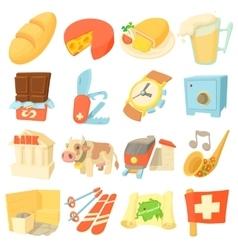 Switzerland travel icons set cartoon style vector