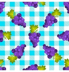 Tartan plaid and grapes seamless pattern vector image
