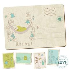 vintage baby boy arrival vector image vector image