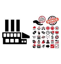 Industrial building flat icon with bonus vector