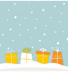 Blue christmas snowing background with gifts vector image