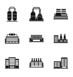 Industrial complex icons set simple style vector