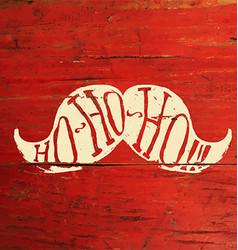 Ho-Ho-Ho Merry Christmas Postcard Design On Red vector image
