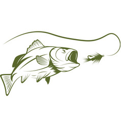 Largemouth bass and lure design template vector