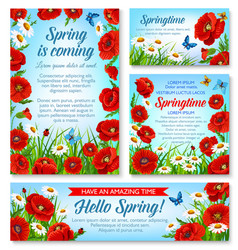 Hello spring and springtime holidays floral banner vector